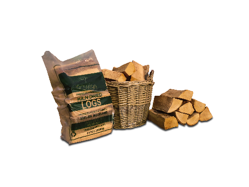 Kiln dried logs in a bag and basket
