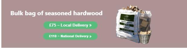 A bulk bag of seasoned hardwood logs for sale